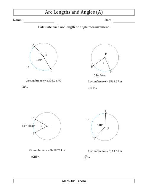 The Calculating Arc Length or Angle from Circumference (A) Math Worksheet