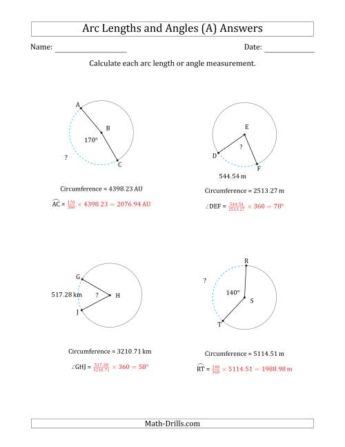 The Calculating Arc Length or Angle from Circumference (A) Math Worksheet Page 2