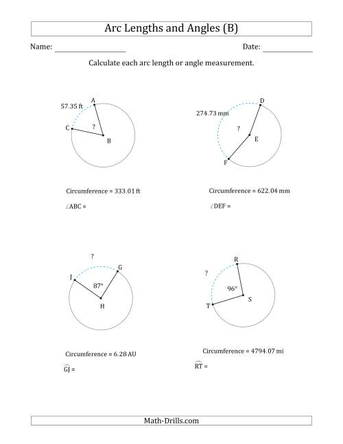 The Calculating Arc Length or Angle from Circumference (B) Math Worksheet