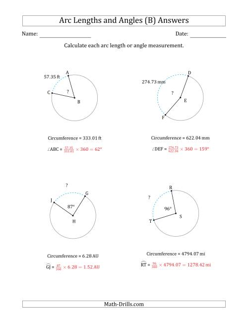 The Calculating Arc Length or Angle from Circumference (B) Math Worksheet Page 2