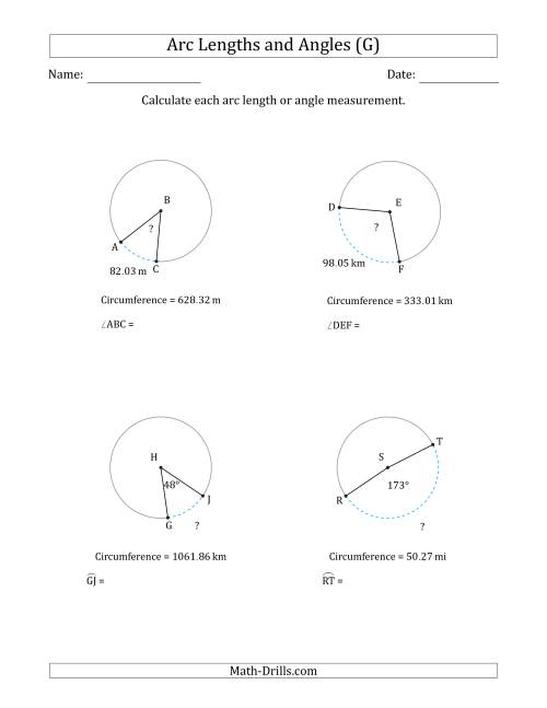 The Calculating Arc Length or Angle from Circumference (G) Math Worksheet