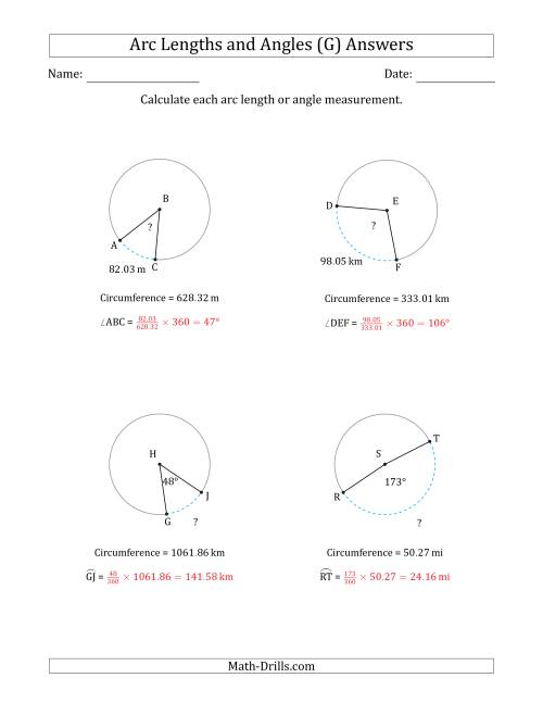 The Calculating Arc Length or Angle from Circumference (G) Math Worksheet Page 2