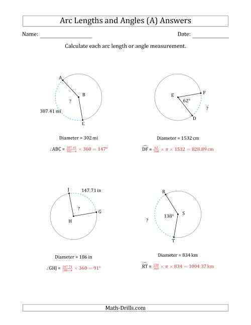 The Calculating Arc Length or Angle from Diameter (A) Math Worksheet Page 2