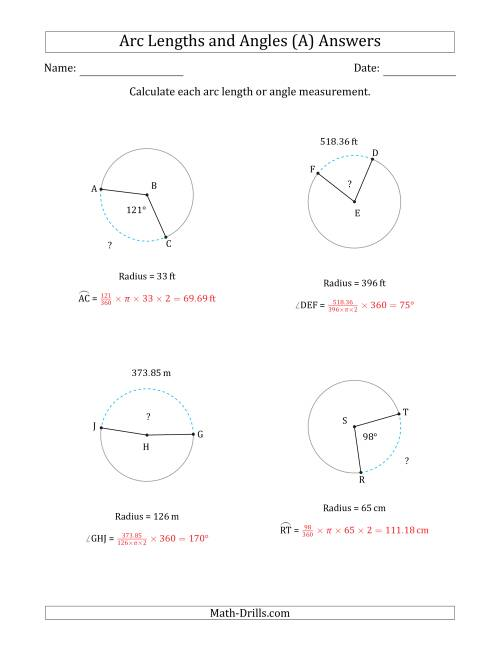 Worksheets Arc Length Worksheet calculating arc length or angle from radius a the math worksheet page 2