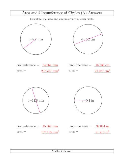Worksheets Area And Circumference Worksheet calculate circumference and area of circles a the math worksheet page 2