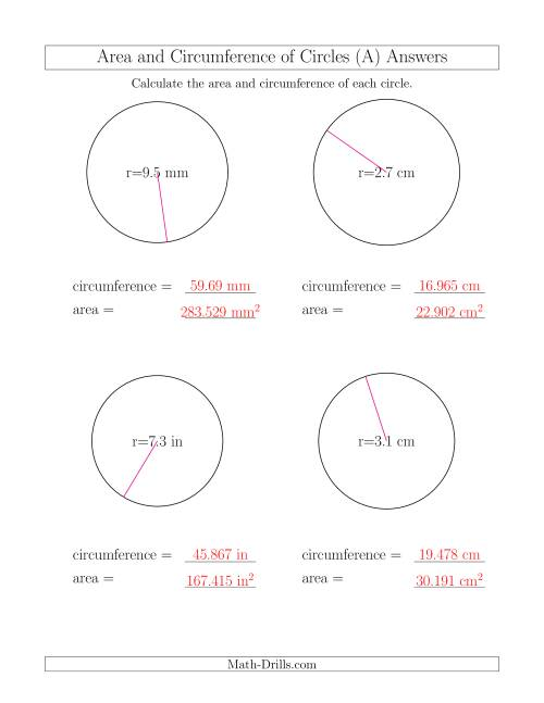 Worksheets Area And Circumference Worksheet calculate circumference and area of circles from radius a the math worksheet page 2