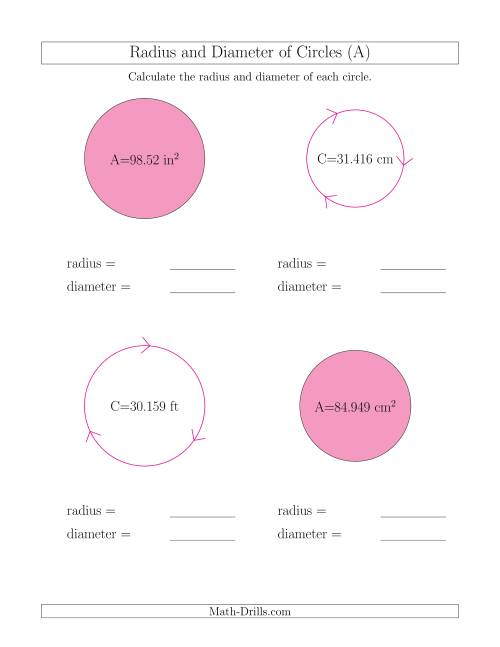 The Calculate Radius and Diameter of Circles (A) Math Worksheet