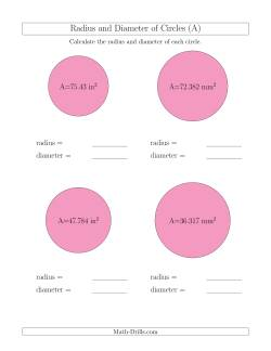 Calculate Radius and Diameter of Circles from Area