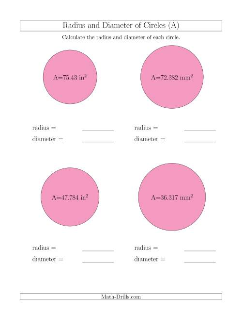 The Calculate Radius and Diameter of Circles from Area (A) Math Worksheet