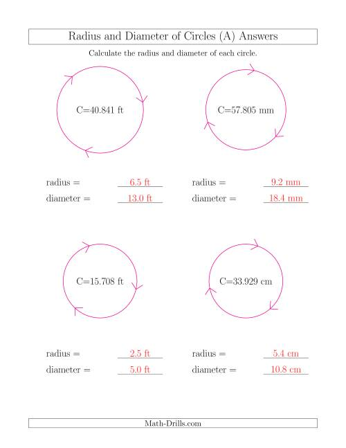 ... The Calculate Radius and Diameter of Circles from Circumference (A) Math Worksheet Page 2