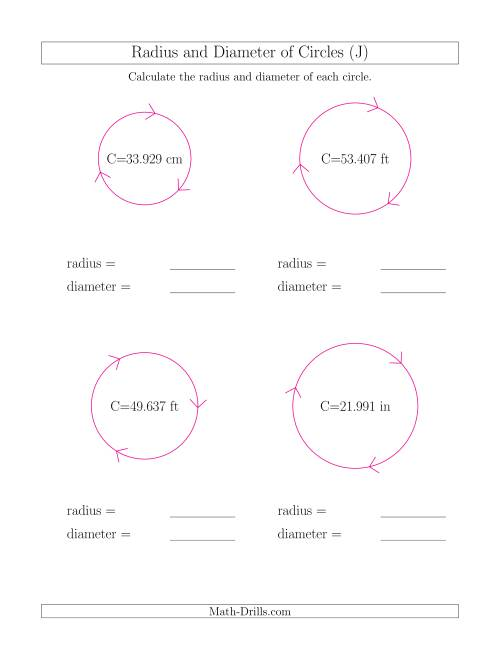 The Calculate Radius and Diameter of Circles from Circumference (J) Math Worksheet