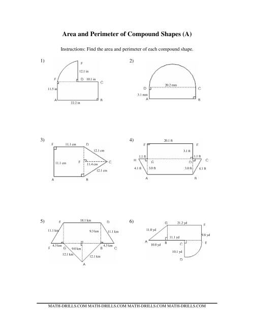 Worksheets Composite Area Worksheet area and perimeter of compound shapes a measurement worksheet the worksheet