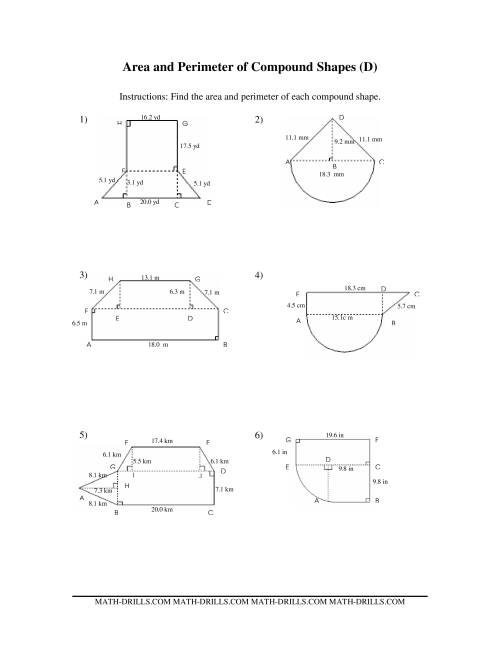 The Area and Perimeter of Compound Shapes (D) Math Worksheet