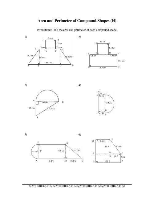 The Area and Perimeter of Compound Shapes (H) Math Worksheet