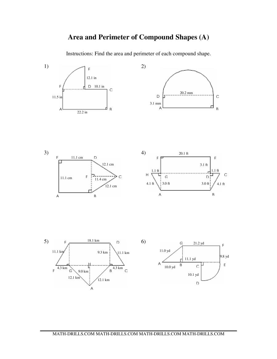 The Area and Perimeter of Compound Shapes (AA) Measurement Worksheet
