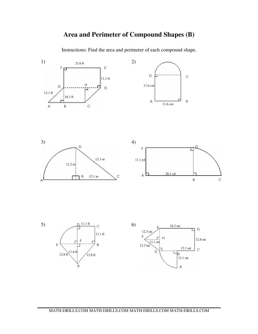 area and perimeter of composite figures worksheet Termolak – Area of Composite Shapes Worksheet