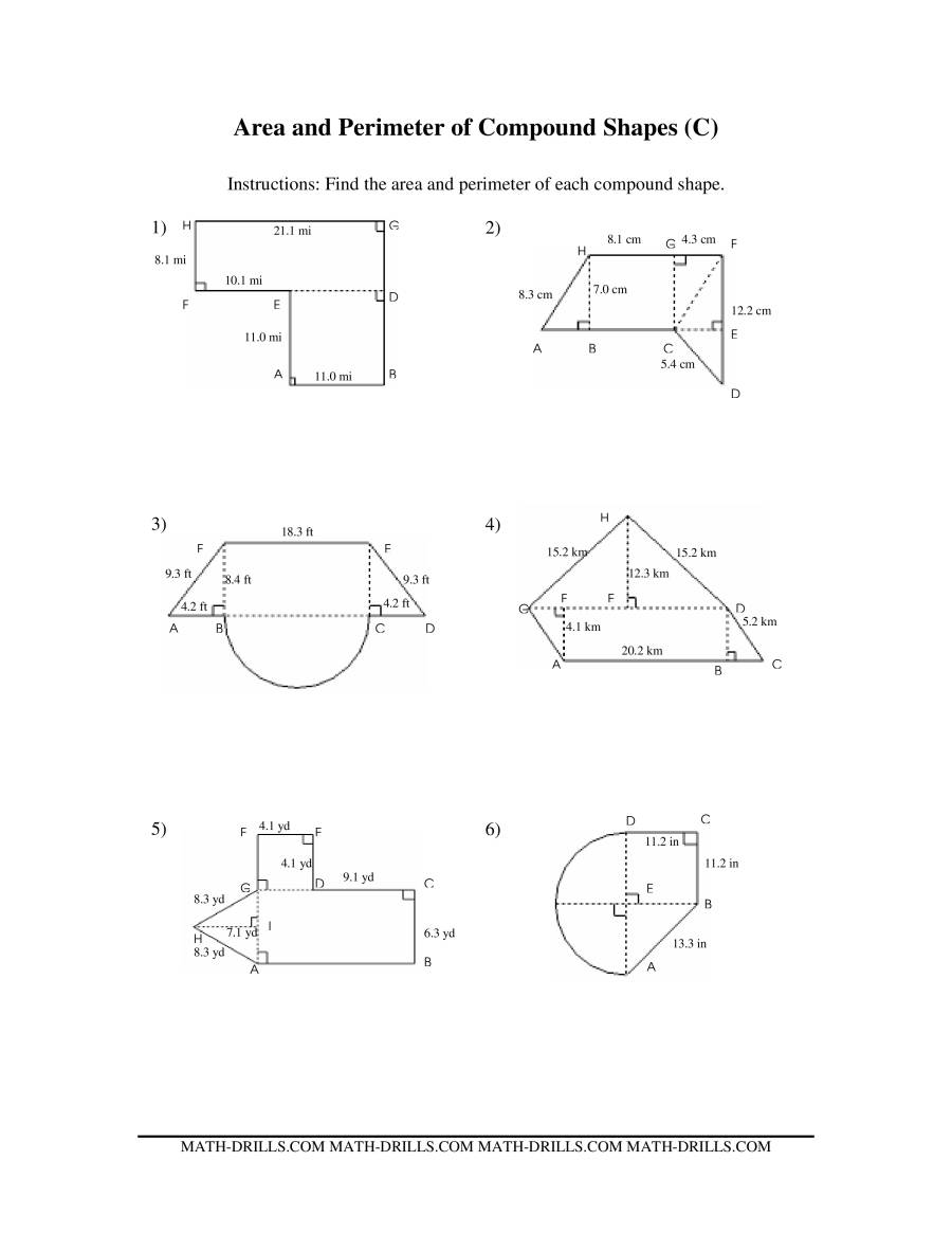 Worksheets Area Of Compound Shapes Worksheet worksheet area compound shapes mytourvn and perimeter of polygons worksheets less than more rectangles worksheet
