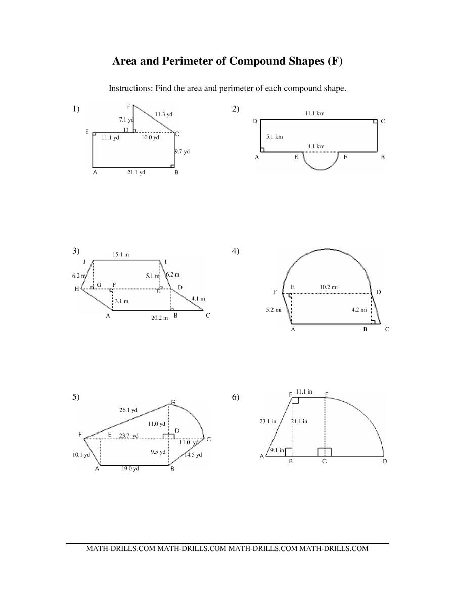 The Area and Perimeter of Compound Shapes (F) Math Worksheet