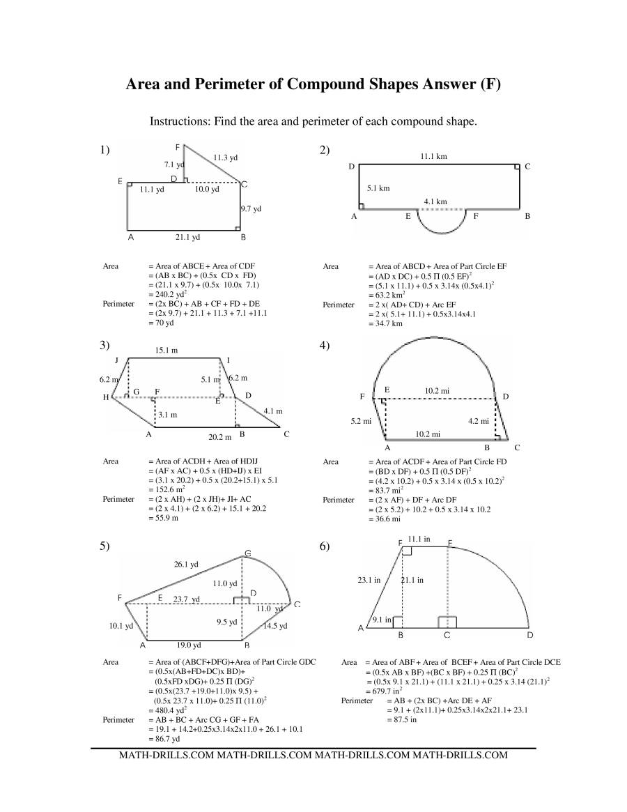 The Area and Perimeter of Compound Shapes (F) Math Worksheet Page 2