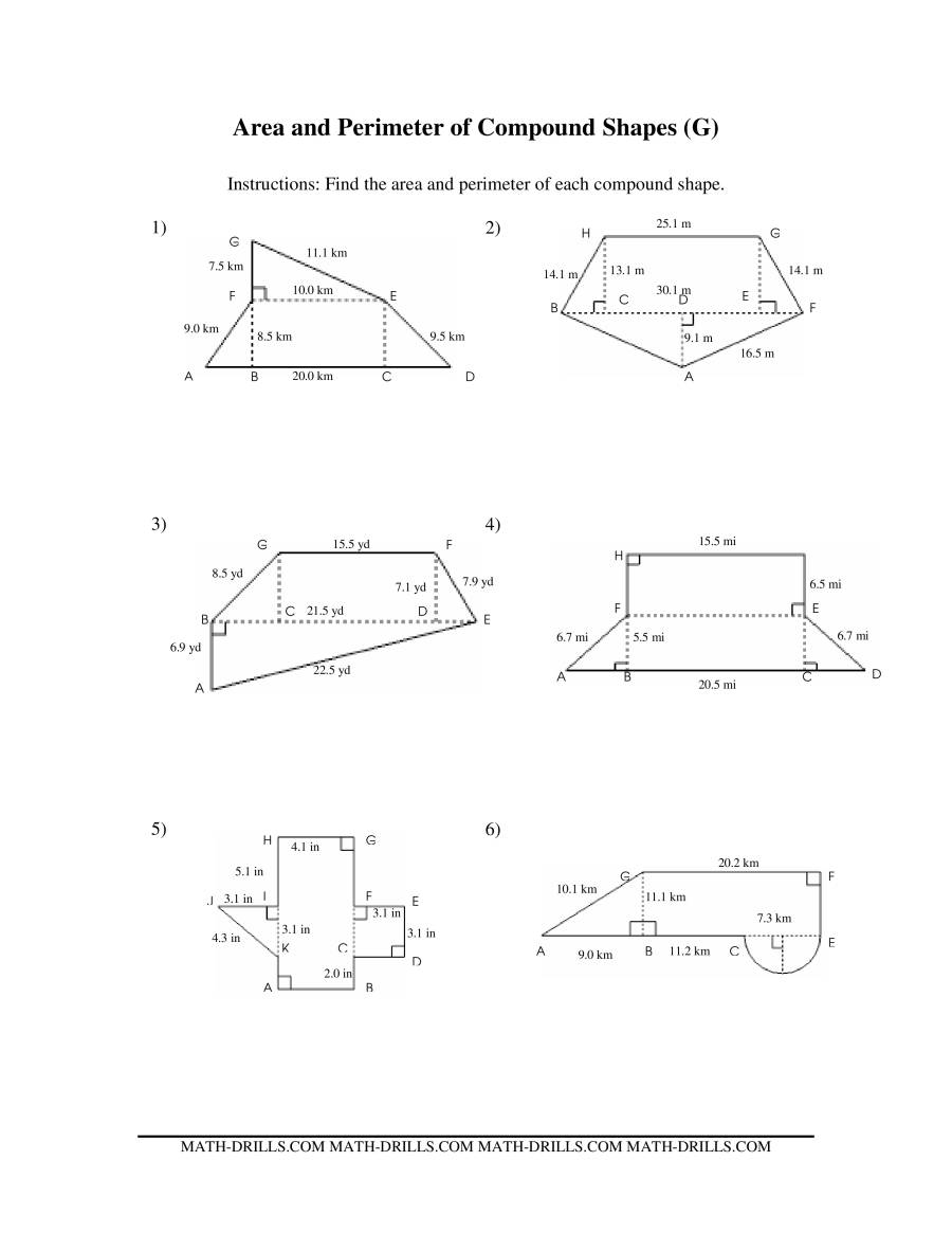 Worksheets Area Of Compound Shapes Worksheet area and perimeter of compound shapes gg measurement worksheet the worksheet