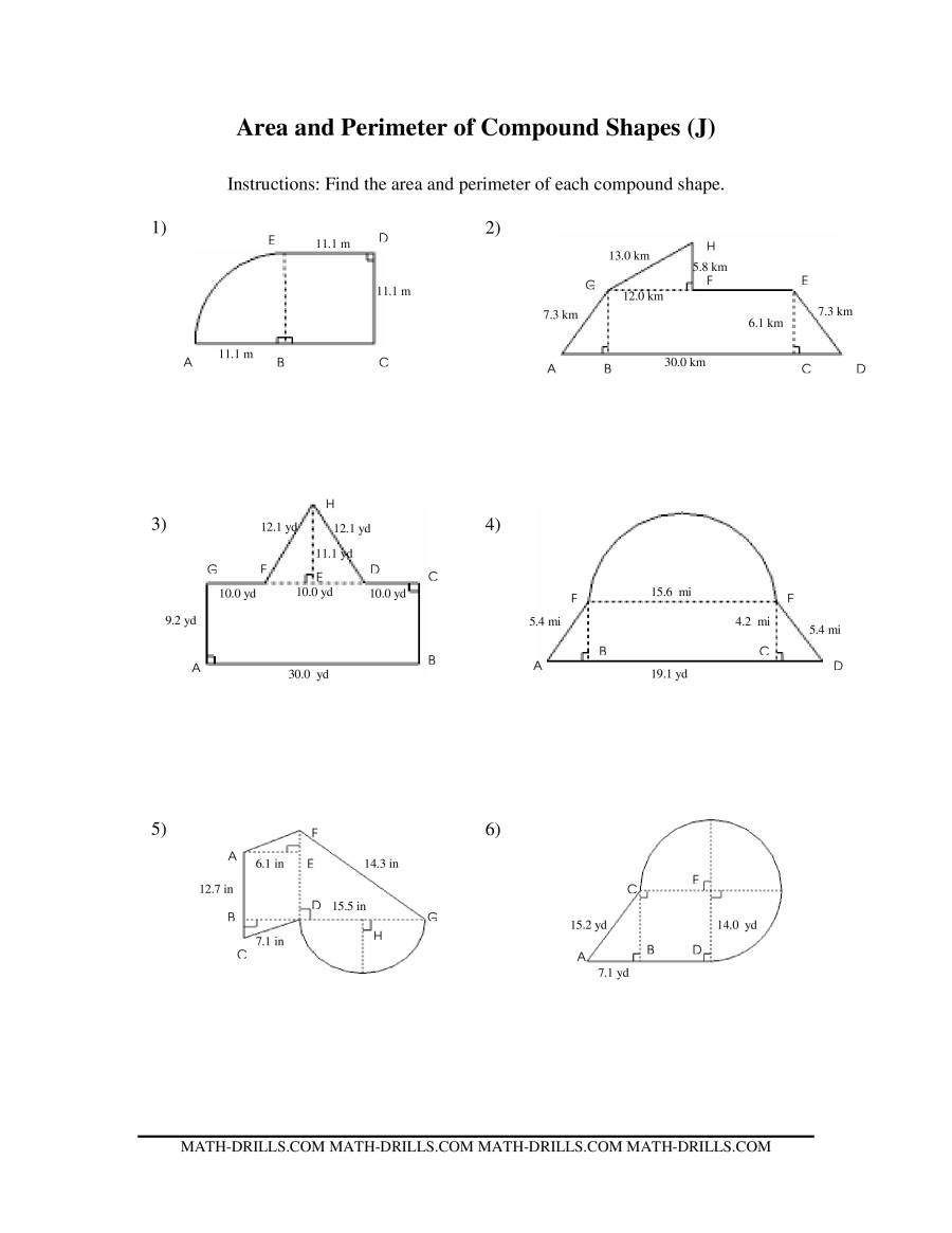 The Area and Perimeter of Compound Shapes (J) Math Worksheet