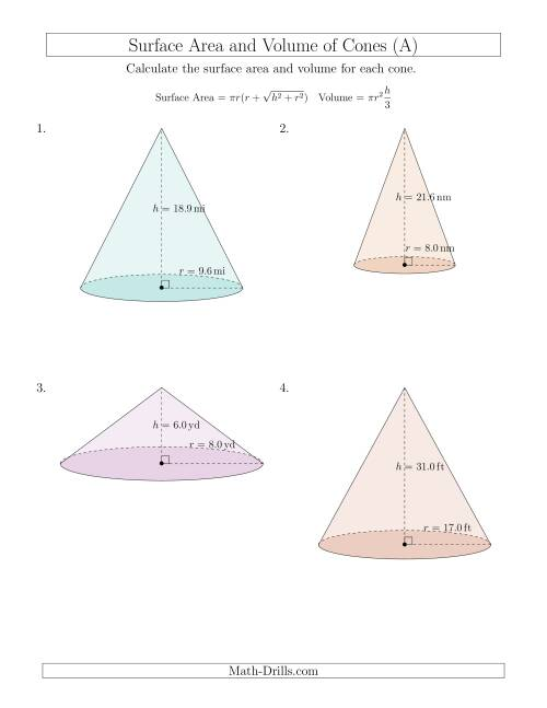 Volume and Surface Area of Cones One Decimal Place A – Surface Area Worksheet