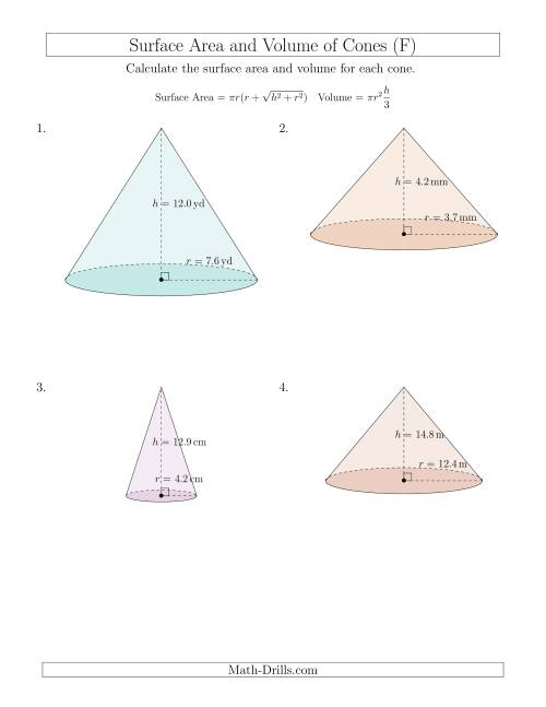 Volume and Surface Area of Cones (One Decimal Place) (F) Measurement ...