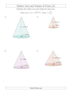 Volume and Surface Area of Cones (Two Decimal Places)