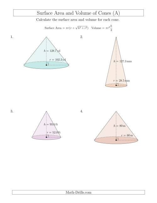Worksheets Volume Of A Cone Worksheet volume and surface area of cones large input values a the measurement