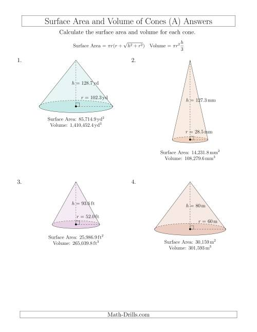 Worksheet Volume And Surface Area Of Cone Worksheet Thedanks
