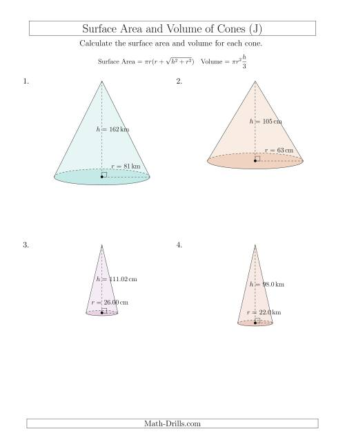 The Volume and Surface Area of Cones (Large Input Values) (J) Math Worksheet