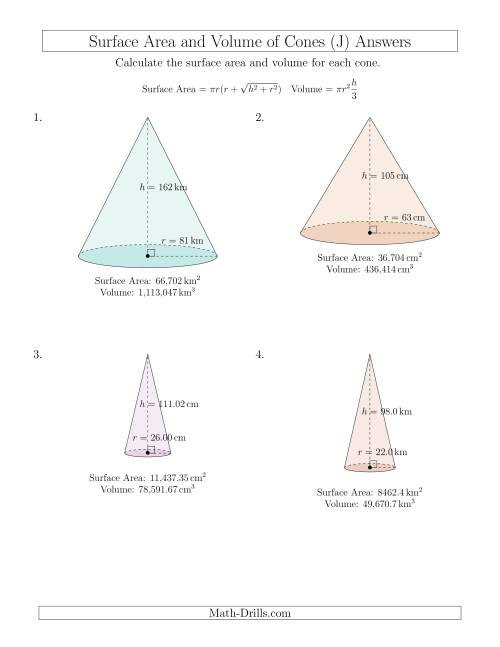 The Volume and Surface Area of Cones (Large Input Values) (J) Math Worksheet Page 2