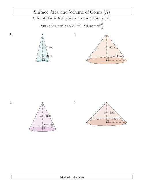 The Volume and Surface Area of Cones (Whole Numbers) (A) Math Worksheet