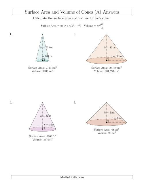 The Volume and Surface Area of Cones (Whole Numbers) (A) Math Worksheet Page 2