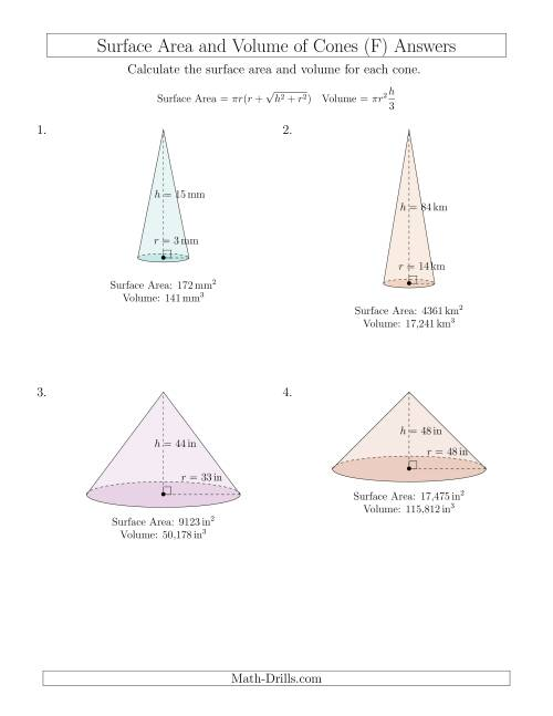The Volume and Surface Area of Cones (Whole Numbers) (F) Math Worksheet Page 2