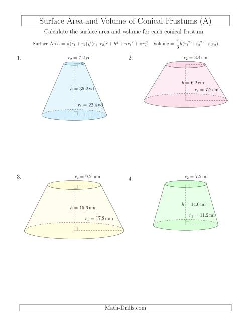 The Volume and Surface Area of Conical Frustums (One Decimal Place) (A) Math Worksheet