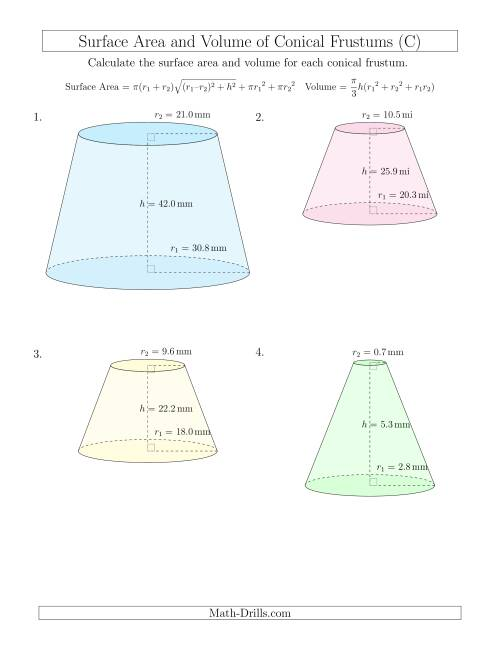 The Volume and Surface Area of Conical Frustums (One Decimal Place) (C) Math Worksheet