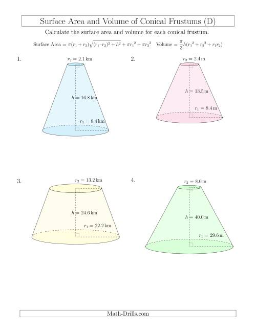 The Volume and Surface Area of Conical Frustums (One Decimal Place) (D) Math Worksheet