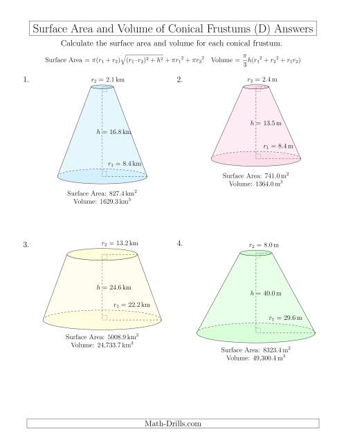 The Volume and Surface Area of Conical Frustums (One Decimal Place) (D) Math Worksheet Page 2