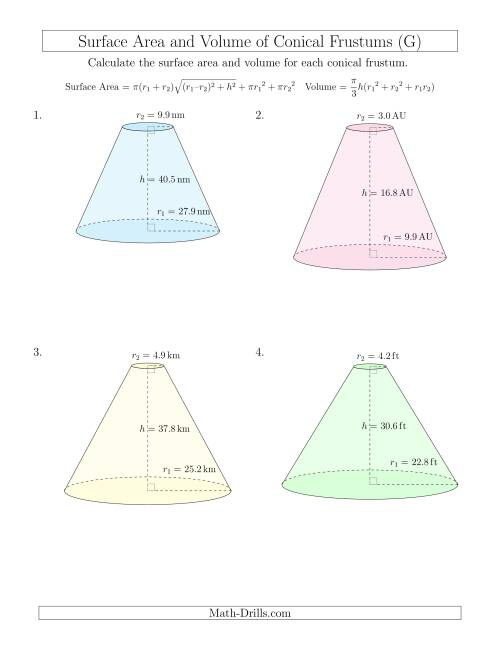 The Volume and Surface Area of Conical Frustums (One Decimal Place) (G) Math Worksheet