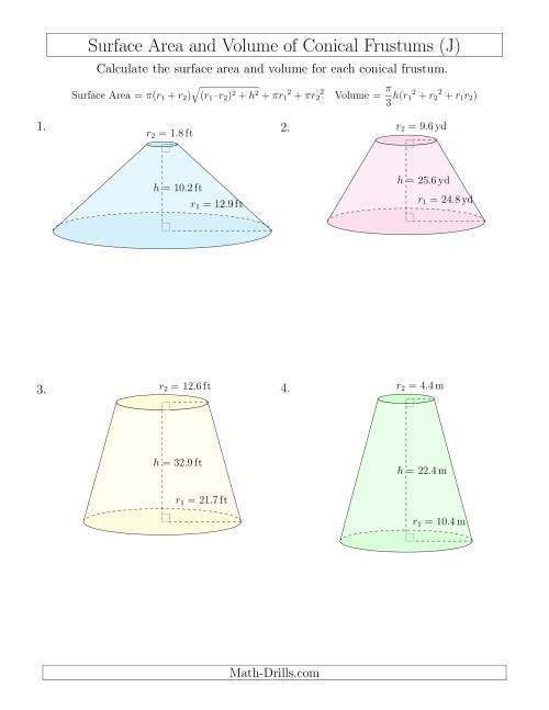 The Volume and Surface Area of Conical Frustums (One Decimal Place) (J) Math Worksheet