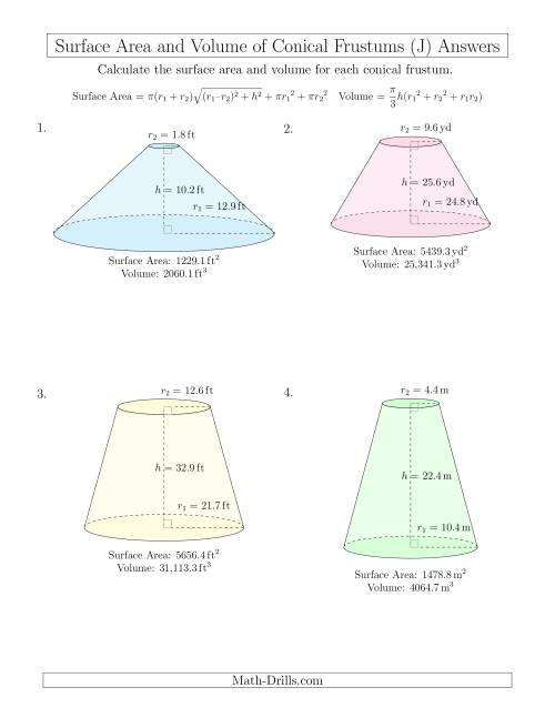 The Volume and Surface Area of Conical Frustums (One Decimal Place) (J) Math Worksheet Page 2