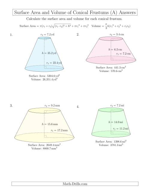 The Volume and Surface Area of Conical Frustums (One Decimal Place) (All) Math Worksheet Page 2