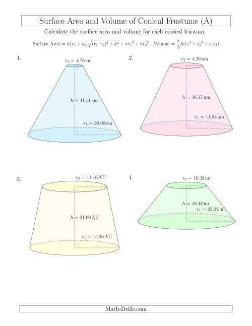 The Volume and Surface Area of Conical Frustums (Two Decimal Places) (A) Math Worksheet