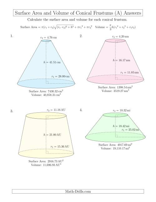 The Volume and Surface Area of Conical Frustums (Two Decimal Places) (A) Math Worksheet Page 2