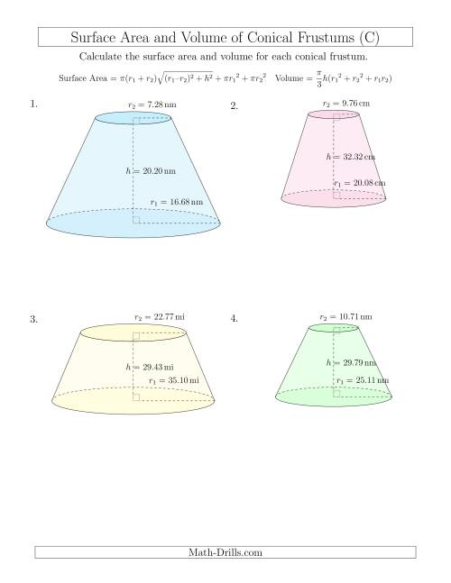 The Volume and Surface Area of Conical Frustums (Two Decimal Places) (C) Math Worksheet