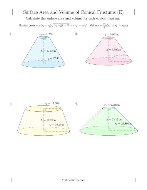 The Volume and Surface Area of Conical Frustums (Two Decimal Places) (E) Math Worksheet