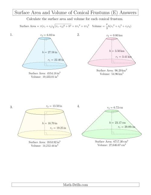 The Volume and Surface Area of Conical Frustums (Two Decimal Places) (E) Math Worksheet Page 2