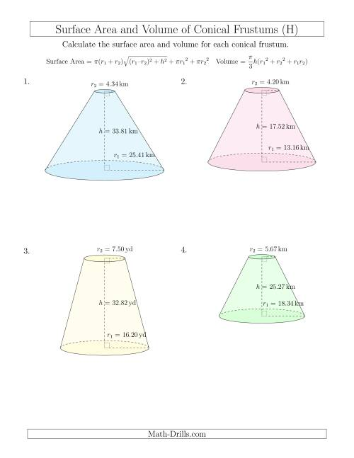 The Volume and Surface Area of Conical Frustums (Two Decimal Places) (H) Math Worksheet