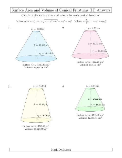 The Volume and Surface Area of Conical Frustums (Two Decimal Places) (H) Math Worksheet Page 2